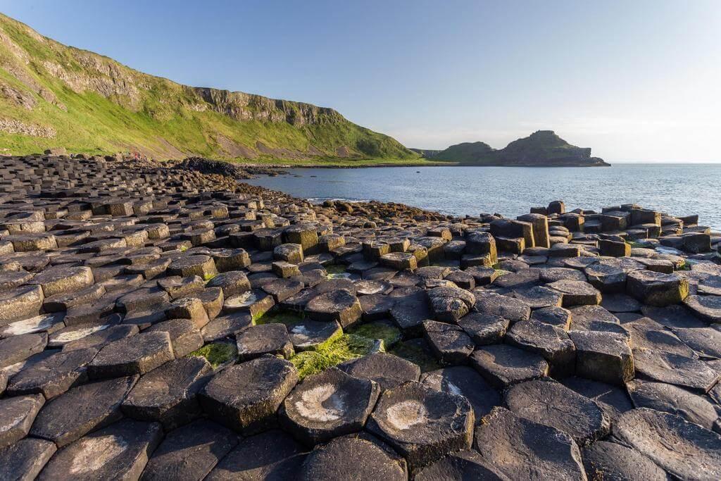 Торчащие из земли базальтовые колонны на берегу океана.
